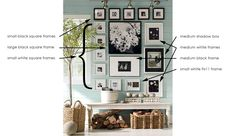 portrait hanging layout | hanging pictures like pottery barn | Jennifer Squires Productions ...