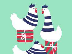 3 French Hens by Carolina Buzio