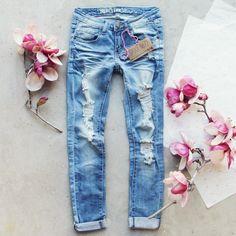 Indigo Sky Crop Jeans, Darling Distressed Denim Jeans from Spool 72.   Spool No.72