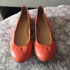 J Crew leather flats  J. Crew Cece ballet flats in mango, coral colored leather flats, made in Italy! In perfect condition except for the marks on the bottom, which were there when I bought them... Reflected in the price! So cute for spring!!  J. Crew Shoes Flats & Loafers