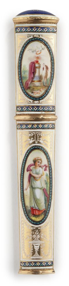 A SWISS GOLD AND ENAMEL NEEDLE CASE, Late 18th Century
