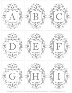 free printable monogram tags available in colors: denim, buttercream & stone great for bottle cap jewelry, glass tile jewelry & fridge magnets too! #ecrafty