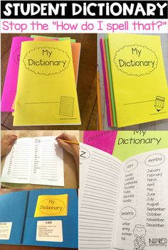 Student Dictionary: Dolch Sight Words, Fry's 100 Words and More! Writing Lessons, Teaching Writing, Teaching Resources, Teaching Ideas, First Grade Teachers, First Grade Classroom, Future Classroom, Classroom Ideas, Personal Dictionary