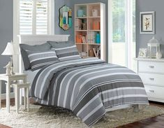 item printed imperial stripes poly cotton duvet quilt cover bedding set material absolutely machine washable single with 1 pillow case