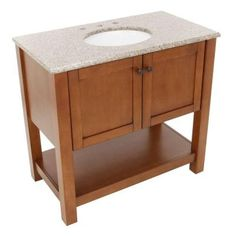 Downstairs Bath American Classics Palisades 37 In. Vanity In Bourbon Cherry  With Granite Vanity Top In Beige With White Basin