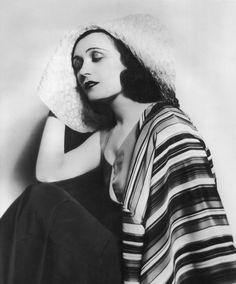 Pola Negri, 1931.  Classic stripes and black and white.