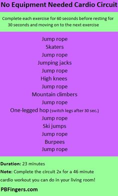 No Equipment Needed Cardio Circuit Workout workouts