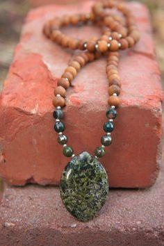 Chrysocolla Jasper Sandalwood Mala - Meditation Inspired Yoga Beads