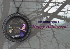 Origami Owl - #Halloween #witch locket. Add other Halloween charms to this locket at https://lucretia.origamiowl.com
