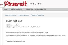 "Want to be able to re-sort large numbers of pins into smaller boards quickly? Click here to visit the Pinterest requests section and choose ""me too""! Repin!!!"