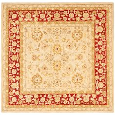 This handmade red wool rug is a luxurious addition to your home. Made from premium wool, this piece has a softness that sets it apart from ordinary throw rugs. The ivory background is enhanced with red details, giving your room a pop of bold color.