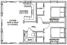 Small House Floor Plans, Cottage Floor Plans, Cabin Floor Plans, Cottage Plan, Best House Plans, Small Bathroom Floor Plans, 20x30 House Plans, 2 Bedroom House Plans, 2 Bedroom Apartment Floor Plan