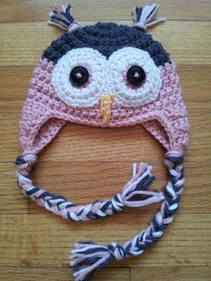 Owl ear flap hat. Different sizes. I can do other colors besides pink. www.facebook.com/lefthandcrochet