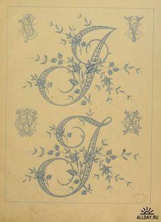 """Embroidered Letters I and J from """"L'Art dans la lingerie: dessins de broderie"""""""
