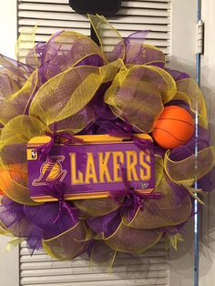Lakers Deco Mesh Wreath by Gypsy505Soul on Etsy