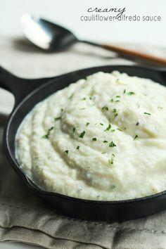 Easy + Creamy Cauliflower Alfredo Sauce, a healthy alternative with half the calories of regular alfredo sauce! Tastes even better! | joyfulhealthyeats.com #recipes