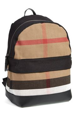 Burberry Check Print Canvas Backpack available at #Nordstrom