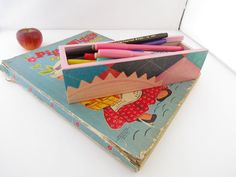 Back to School Pencil Box  Vintage Composition Seal by WalterSilva, $15.00