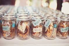 candy filled mason jar wedding favors!
