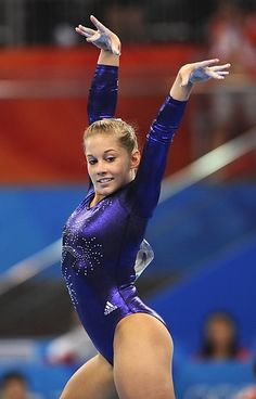 Shawn Johnson (United States) on floor at the 2008 Beijing Olympics