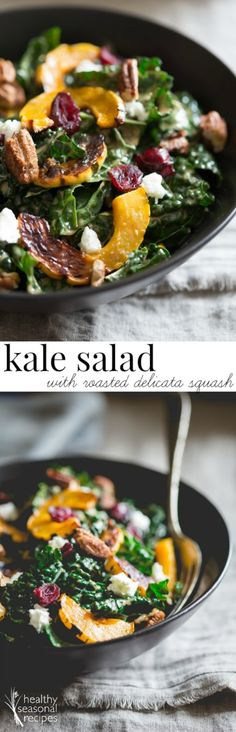 kale salad with roasted delicata squash, dried cranberries, chevre, sweet and spicy roasted pecans. A luscious, healthy, bold fall salad.