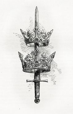 Sword and Crown royalty-free stock vector art vector Vintage engraving of a sword and crowns. Engraving from 1858 photo by. Simbolos Tattoo, Body Art Tattoos, New Tattoos, Hand Tattoos, Small Tattoos, Tattoos For Guys, Sleeve Tattoos, Cool Tattoos, Garter Tattoos