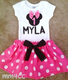 Minnie Mouse outfit Dress first Birthday Party Pink Skirt by MM4CC, $34.50