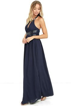 As the day turns to night, the Days Gown By Navy Blue Beaded Maxi Dress will be ready to sparkle beneath the stars! Beaded halter dress has a full maxi skirt. Rehearsal Dinner Attire, Rehearsal Dress, Prom Dresses Two Piece, High Low Prom Dresses, Maid Of Honour Dresses, Lace Bride, Bridesmaid Dresses, Wedding Dresses, Ball Gowns