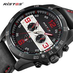 0a255b697ff RISTOS Mens Relógios Top Marca de Luxo de Couro de Quartzo-relógio Relógio  De Corrida