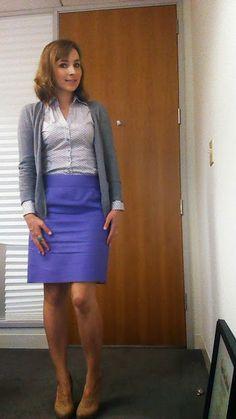 work wear: ladylike in purple and a blouse
