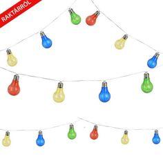 Elemes party fényfüzér villanykörte alakú világító ledekkel. A led égősoron a villankörték 20 cm-es távolságban vannak elhelyezve egymástól, a termék teljes hossza 230 cm. Led, Design