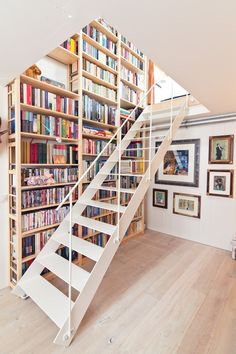 Blond wood shelving with stairs