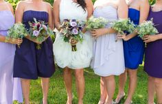 I love the monochromatic shades of purple. The Bridal bouquet and maid of honor bouquet matched, The bridesmaids bouquets were simple and made from babies breath. I kept the bouquets simple and the same since all the bridesmaids were in different dresses.