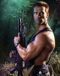 A gallery of Predator publicity stills and other photos. Featuring Arnold Schwarzenegger, Carl Weathers, Kevin Peter Hall, Sonny Landham and others. Arnold Schwarzenegger Predator, Arnold Schwarzenegger Bodybuilding, Predator Movie, Alien Vs Predator, Science Fiction, Arnold Movies, Man In Black, Silvester Stallone, Rock Poster