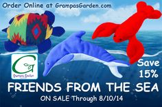 Friends From the Sea - Warm Me Turtle, Dolphin Wrap, Hot Lobsta - On Sale, Save 15% Through 8/10/14. Sale Link: http://www.grampasgarden.com/friends-from-the-sea.html