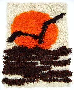Retro Vintage 1970s Latch Hook Hanging Rug Sunset and Seagull Wall Art