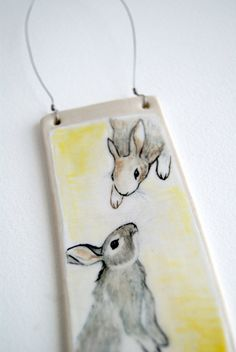 love from above rabbit ceramic wall hanging bunny by terehurst