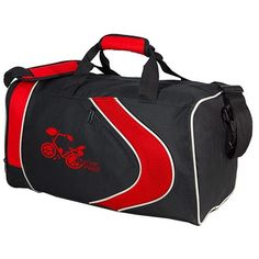 """A 19"""" large capacity #gymbag featuring a colorful arrow design accent. Keep things separate with its front zippered pocket, side mesh pocket, and built in shoe compartment. Padded hand grip and reinforced removable adjustable shoulder strap."""