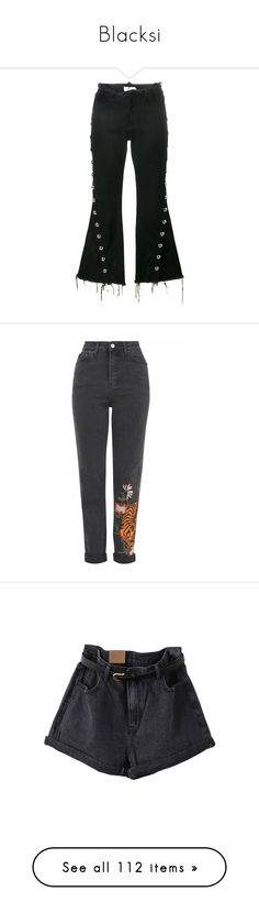 """Blacksi"" by xseamacx ❤ liked on Polyvore featuring jeans, black, studded jeans, frayed-hem jeans, frayed flare jeans, flared jeans, flare jeans, topshop, washed black and tapered leg jeans"