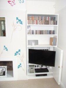 TV alcove unit open