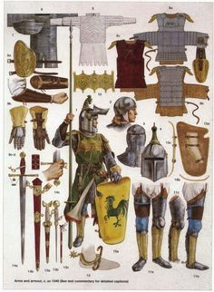 medieval weapons and armor Medieval Weapons, Medieval Knight, Medieval Fantasy, Armadura Medieval, Armor Clothing, Medieval Clothing, Arte Assassins Creed, Templer, Landsknecht
