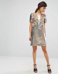 Floral Sequin Shift Dress