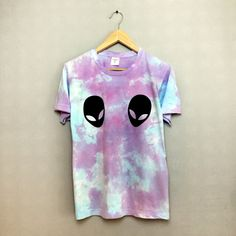 Purple/Blue Tie Dye Alien T-shirt Hipster Indie Swag Dope Hype Black White Mens Womens Cute Summer Festival Halloween Space Raw Hem Mermaid by IIMVCLOTHING on Etsy