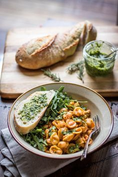 White Beans and Pasta with Rosemary Pesto: Tender beans cozy up with hearty pasta and fragrant pesto - a 30 minute weeknight meal! Need to try the rosemary pesto Italian Recipes, Vegan Recipes, Cooking Recipes, Spinach Recipes, Crockpot Recipes, Summer Vegetarian Recipes, Zone Recipes, Healthy Pasta Recipes, Hamburger Recipes
