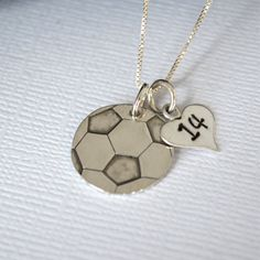 Hand-Stamped Soccer Necklace- Soccer Ball Necklace with Number for Mom. I want!