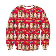 Dainzuy Women Slouchy Christmas Sweatshirt Santa Claus Print Loose Hoodie Automn Winter Pullover Coat Blouses