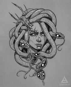 Medusa Tattoo on Inspirationde Medusa Tattoo Design, Tattoo Designs, Medusa Drawing, Medusa Art, Medusa Gorgon, Art Drawings Sketches, Tattoo Sketches, Tattoo Drawings, Sketch Art