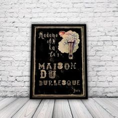 Vintage burlesque style Poster, A3 Print, wall art, pinup, moulin rouge: Amazon.co.uk: Kitchen & Home