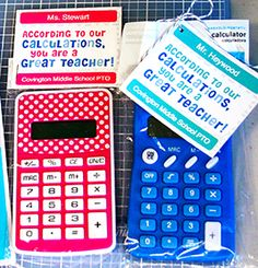 Calculator Tags | 9 Quick and Easy Teacher Appreciation Gifts | PTOToday.com