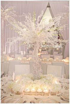 snow white wedding tree, very cool centre piece but maybe a little on the big side! Wedding Reception Ideas, Reception Decorations, Wedding Themes, Wedding Centerpieces, Wedding Table, Wedding Events, Our Wedding, Wedding Planning, Dream Wedding